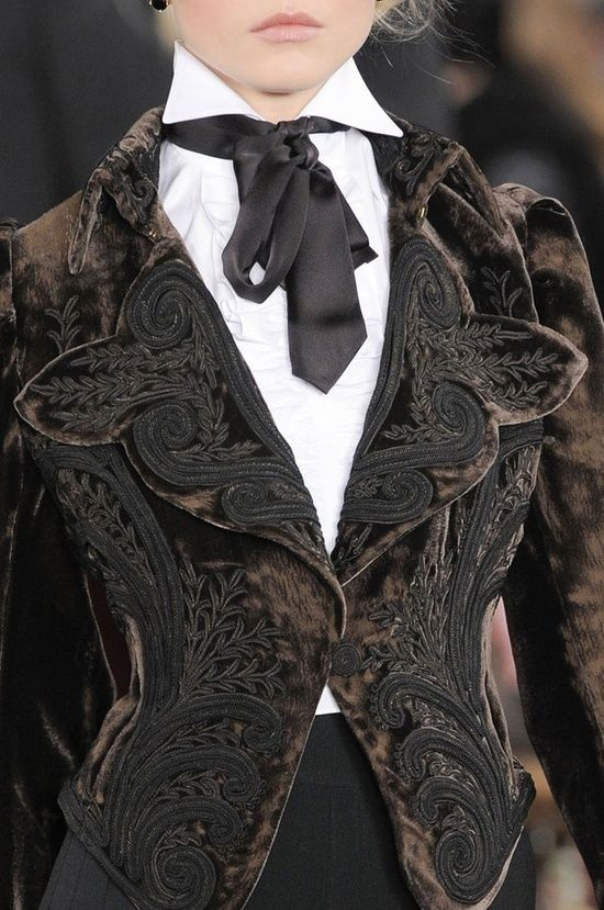 Inspiration: Brown Steampunk velvet embroidered jacket--how about dyeing old crochet pieces and embellishing a jacket with them?