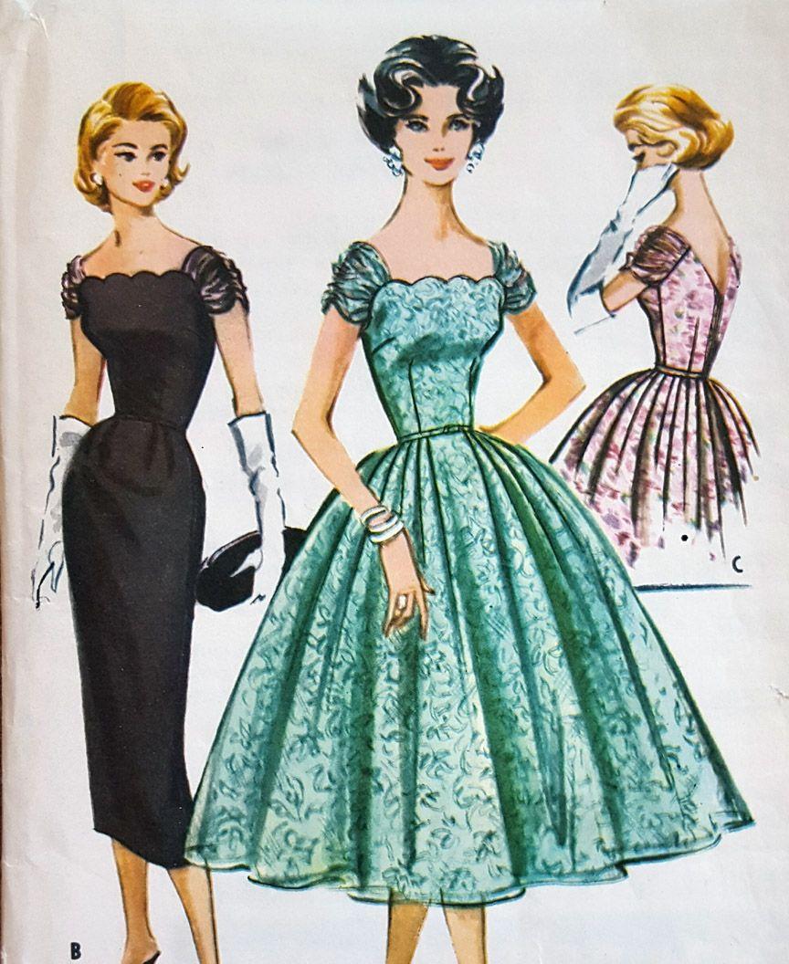 1950s Cocktail Dress Sewing Pattern Cocktail Dress Patterns Fashion Drawing Dresses 1950s Cocktail Dress [ 1056 x 864 Pixel ]