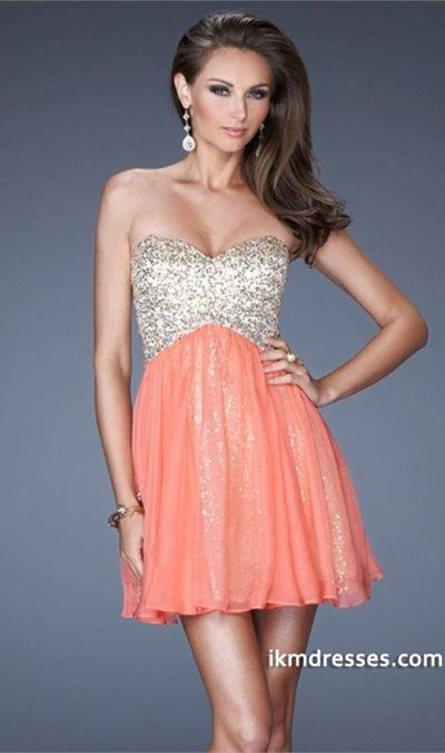 015 Short Prom Dress Sweetheart A Line Open Back With Gold Sequince Lace Underlay http://www.ikmdresses.com/2014-Short-Prom-Dress-Sweetheart-A-Line-Open-Back-With-Gold-Sequince-Lace-Underlay-p83863