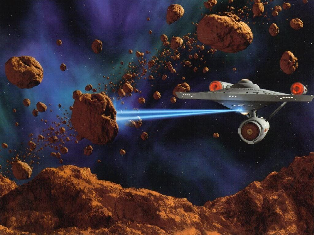 Starship Enterpise Ncc 1701a Firing Phasers In Asteroid