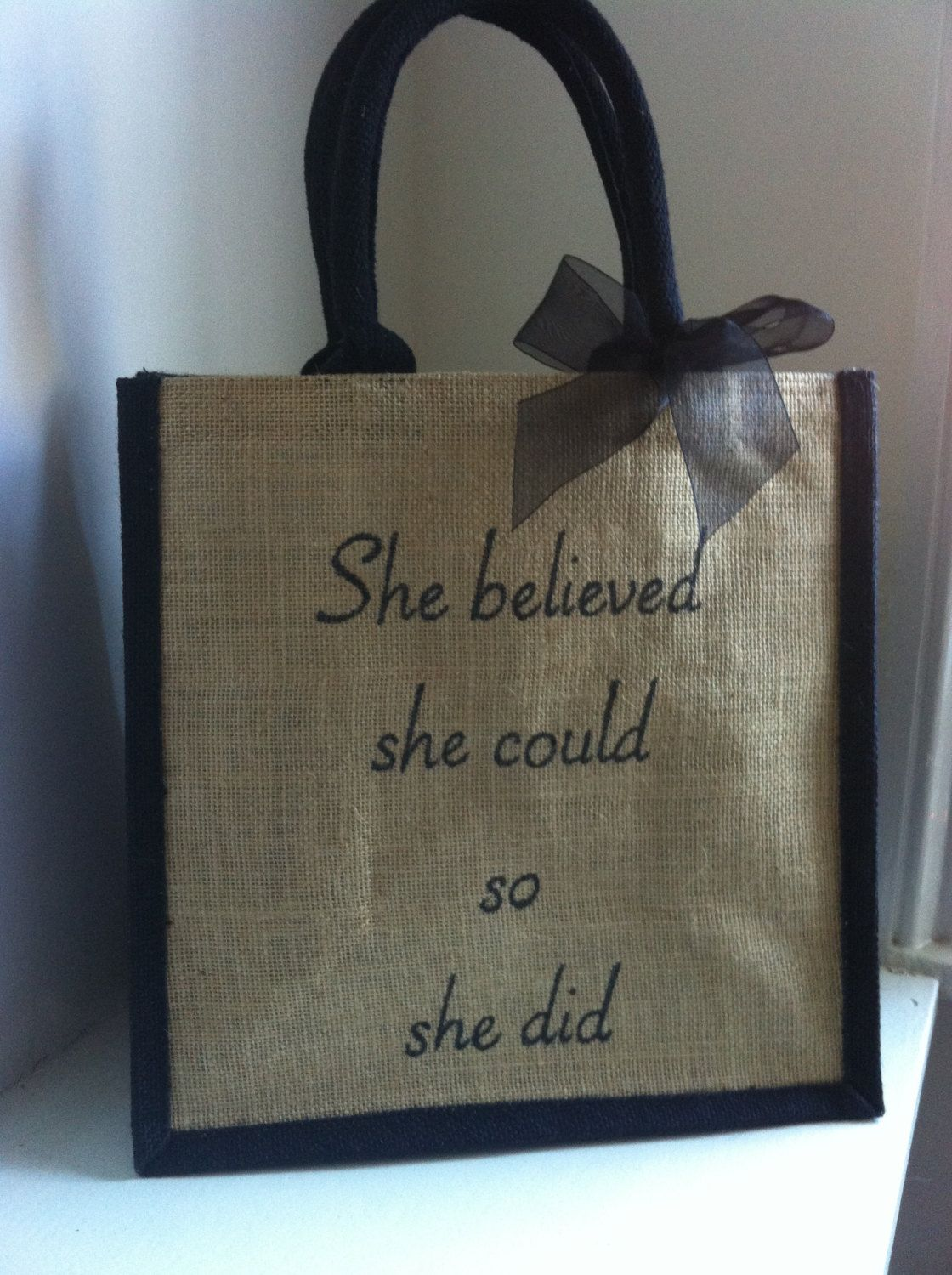 She believed she could so she did. Personalised quote tote book bag. Inspirational Gift for girls, teachers, college students and graduates by HarlieLoves on Etsy