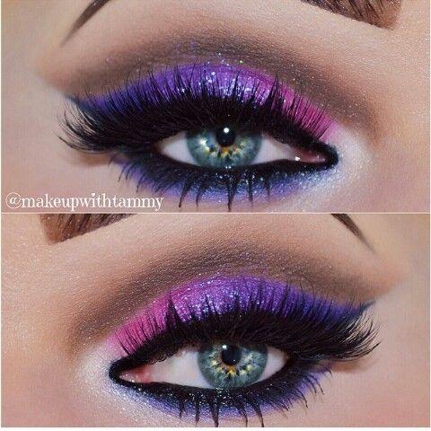 Photo of Beautiful Makeup. Purple and pink Eyeshadow.