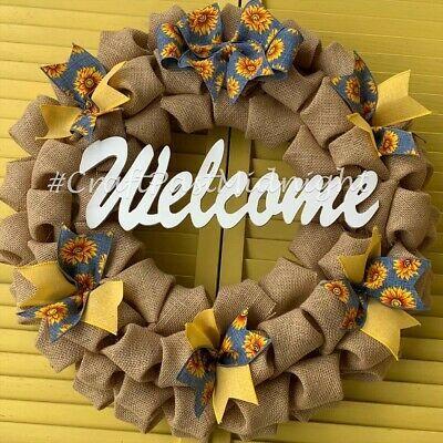 Photo of Denim Sunflower Wreath – Sunflower Burlap Wreath – Summer – Spring – Welcome #fa…
