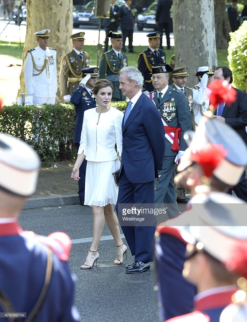 Queen Letizia of Spain (L) attends the 2015 Armed Forces Day Ceremony at the Plaza de la Lealtad on June 6, 2015 in Madrid, Spain.