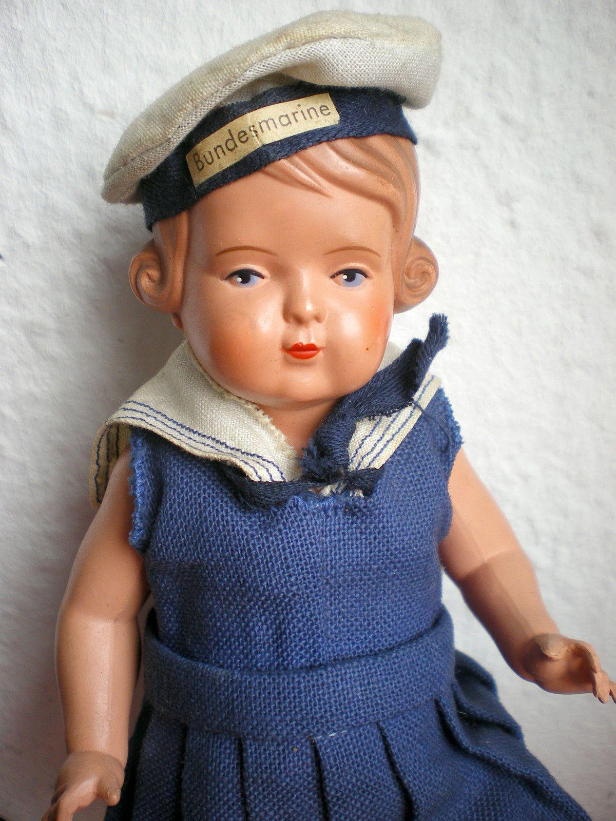Bildschöne alte Schildkröt Inge Puppe mit uraltem Original Matrosenkleid | eBay