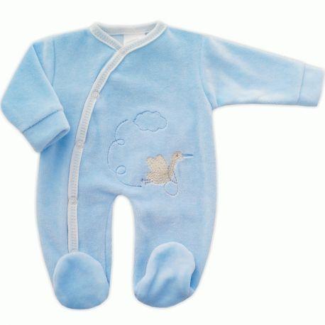 7f8bc13ff4c90 Pyjama mixte pour grand bébé prématuré 40 cm en velours bleu ciel brodé  Cigogne à 9
