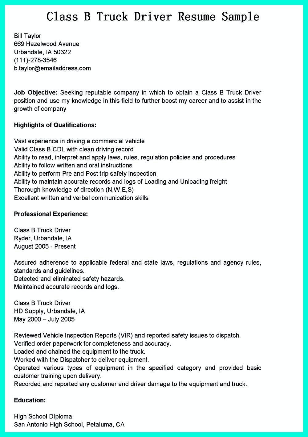 Resume Truck Driver Position Resume Sample