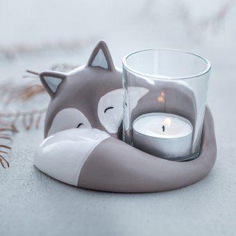 Fuchs Frederico mit Tischlicht grau Polymer clay crafts
