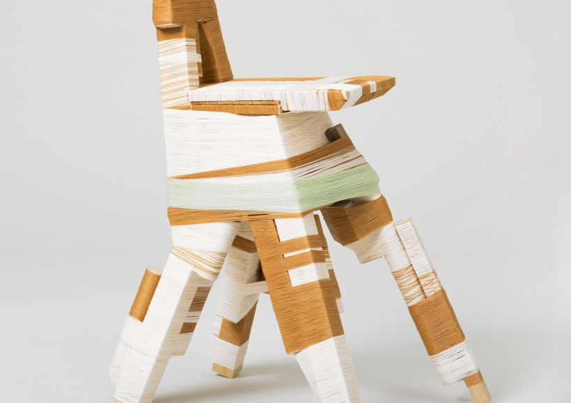 thread-wrapped furniture by anton alvarez presented at design miami/basel 2013 by gallery libby sellers