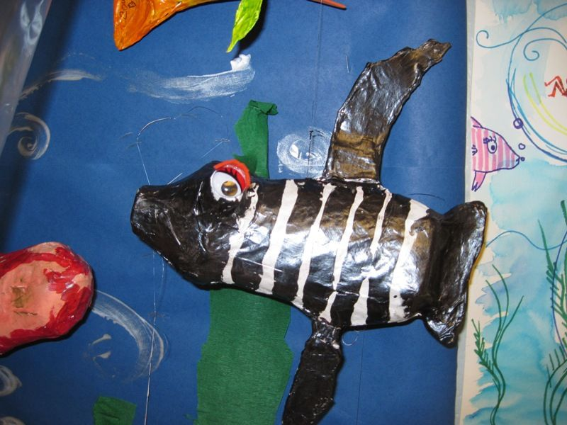 """There's a Dragon in my Art Room: Papier-Mache """"Funky Fish"""" by 3rd grade"""