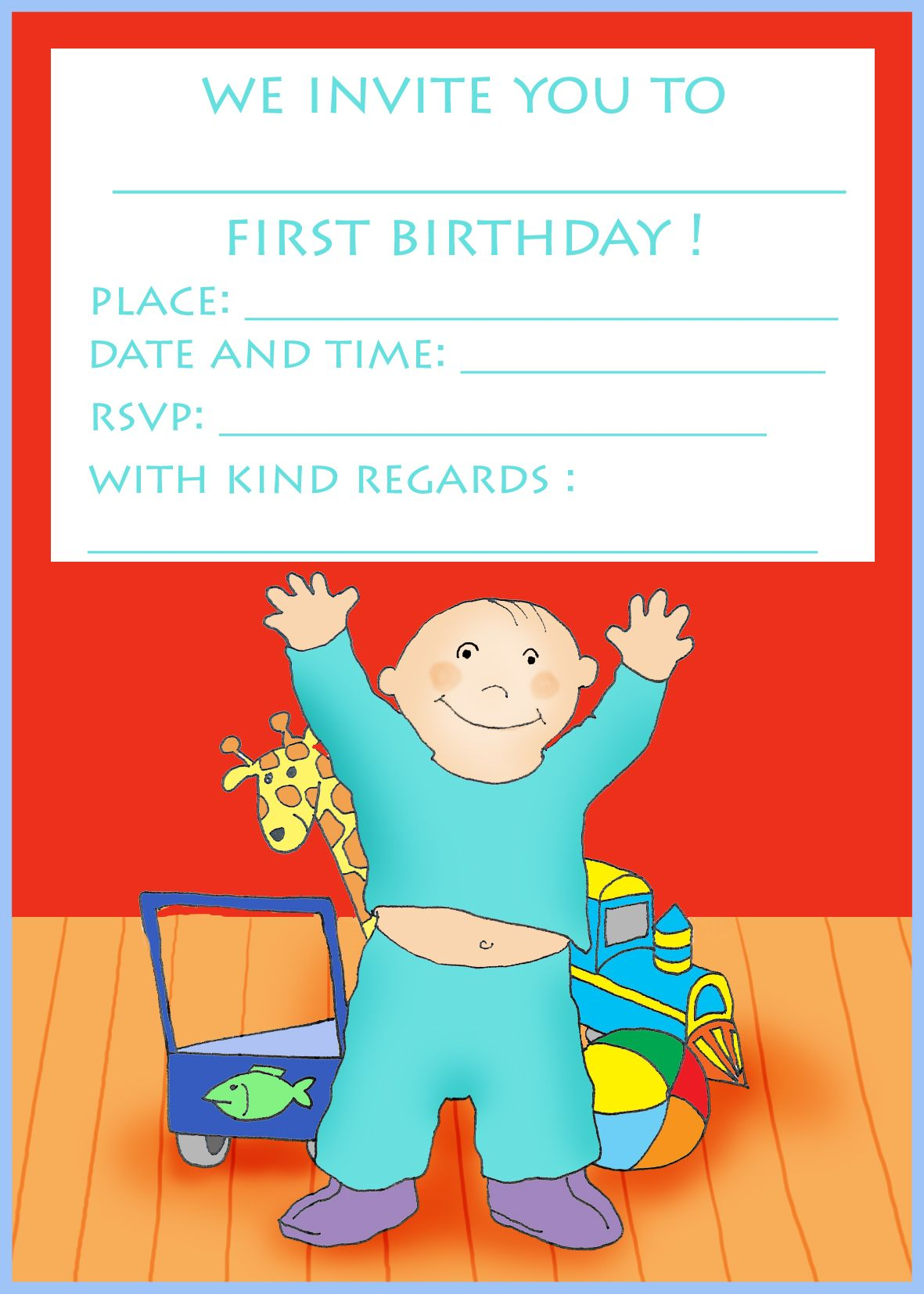 free printable birthday cards boy happy with toys