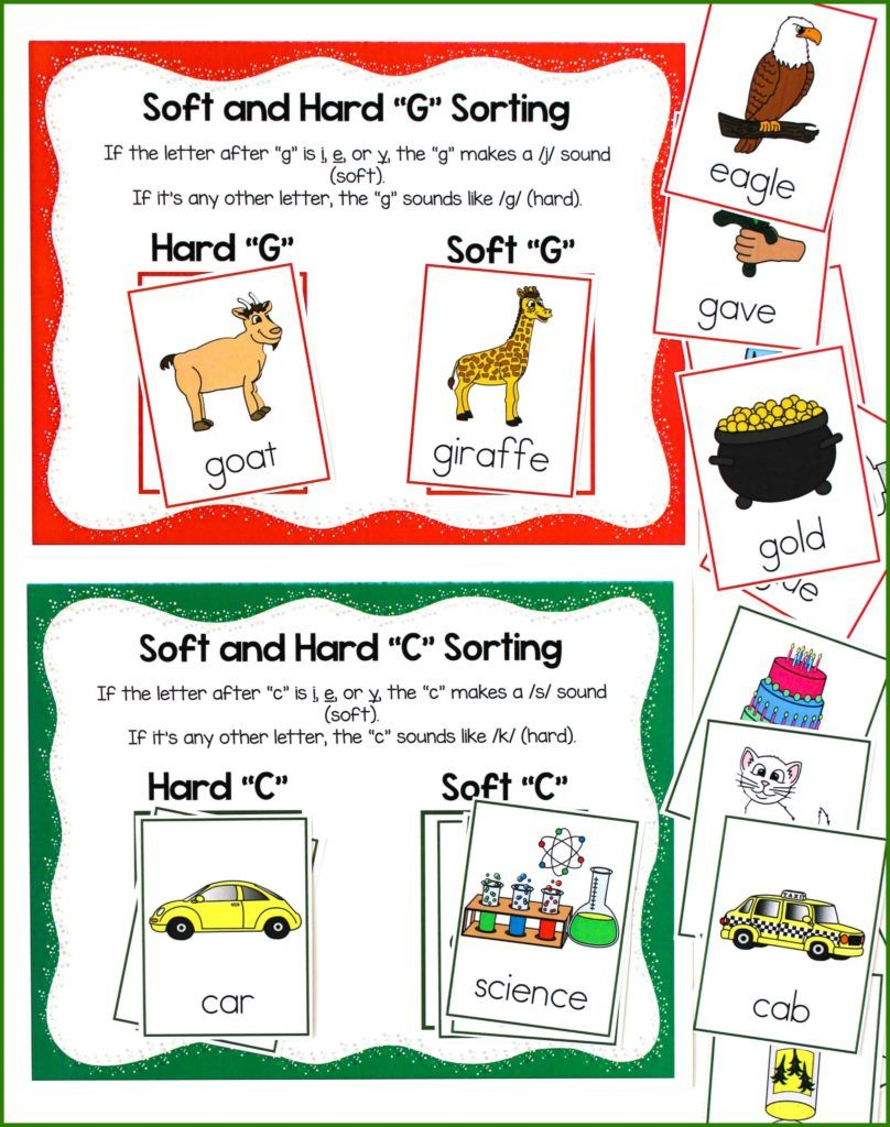 Teaching Hard And Soft Sounds Of C And G Make Take Teach Teaching Word Sort Activities Phonics Sounds