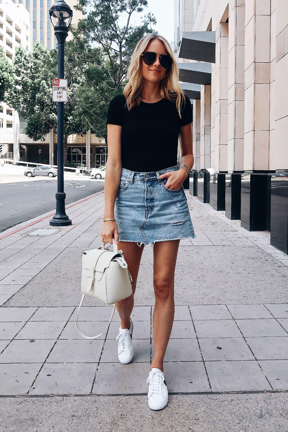 Denim skirt fashion