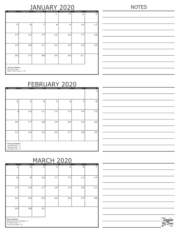 january february march 2020 calendar printable template pdf word excel in 2020