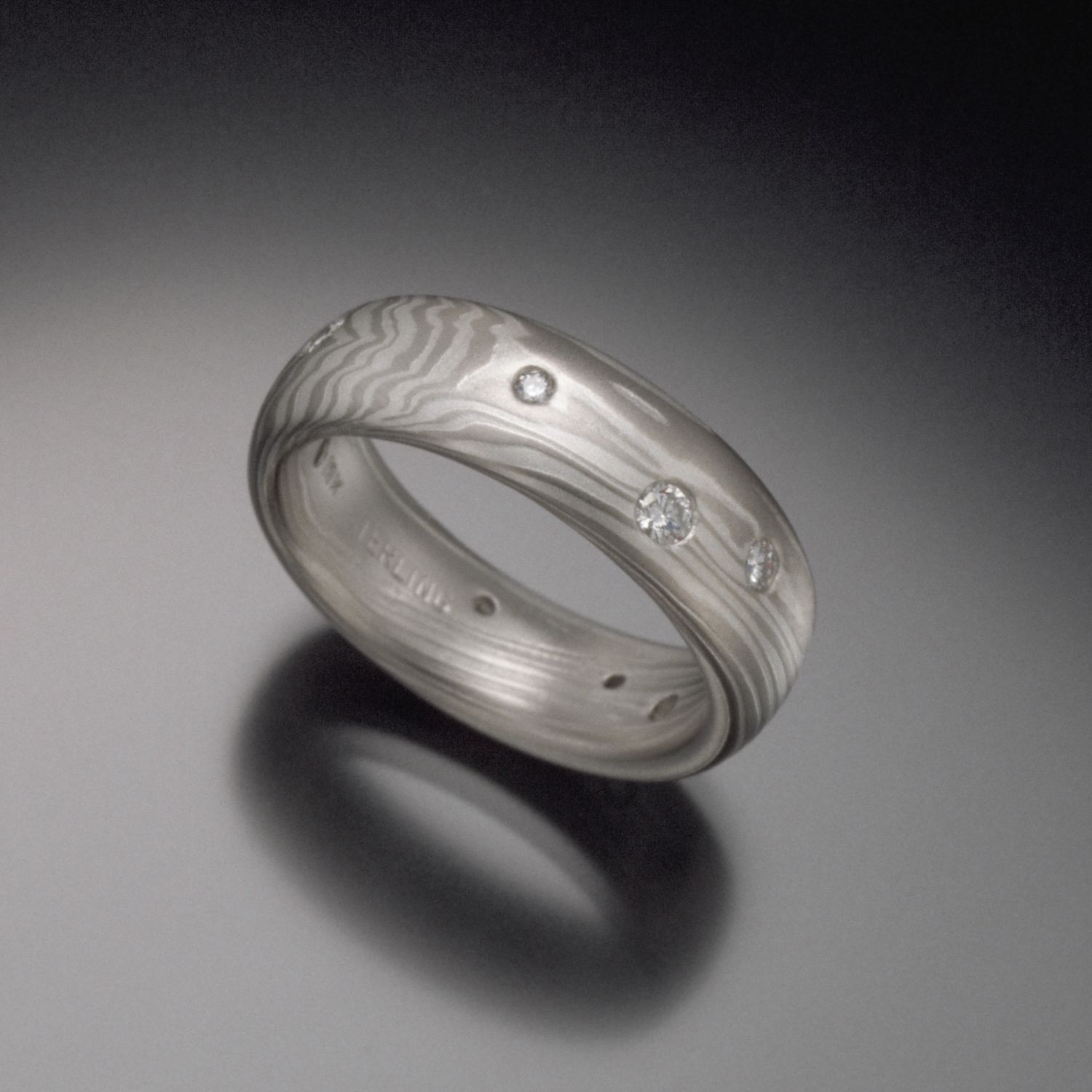 Scattered Diamond Mokume Wedding Band in 18K White Gold and Silver