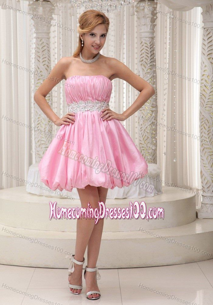 Puffy Strapless Ruched Beading Pink Mini-length Homecoming Dress ...