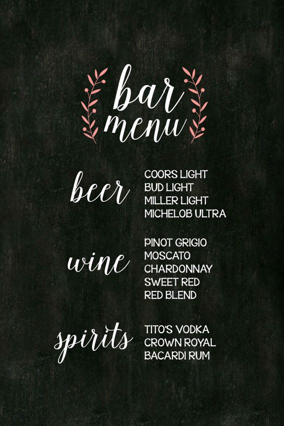 Printable rustic antique chalkboard wedding bar menu ...