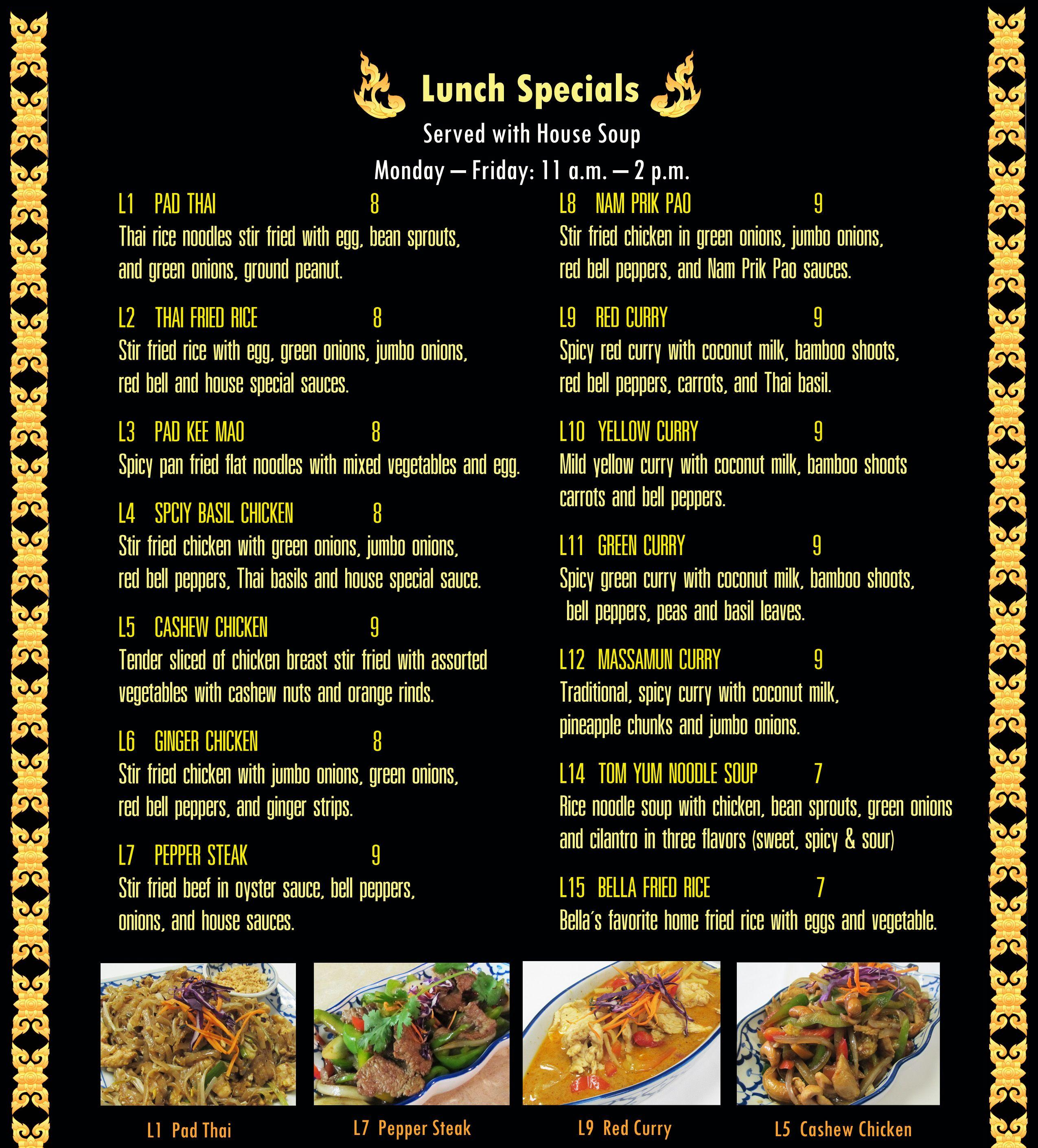 Sai Thai Cuisine Menu One Of My Favorite Restaurants In Town Chicken Stir Fry Lunch Specials Stir Fry With Egg