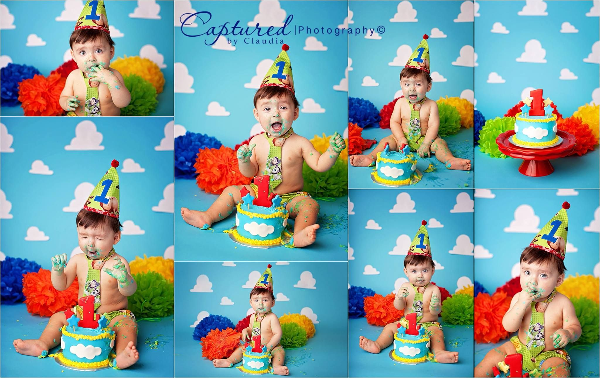e year old portrait session Toy Story child portrait cake