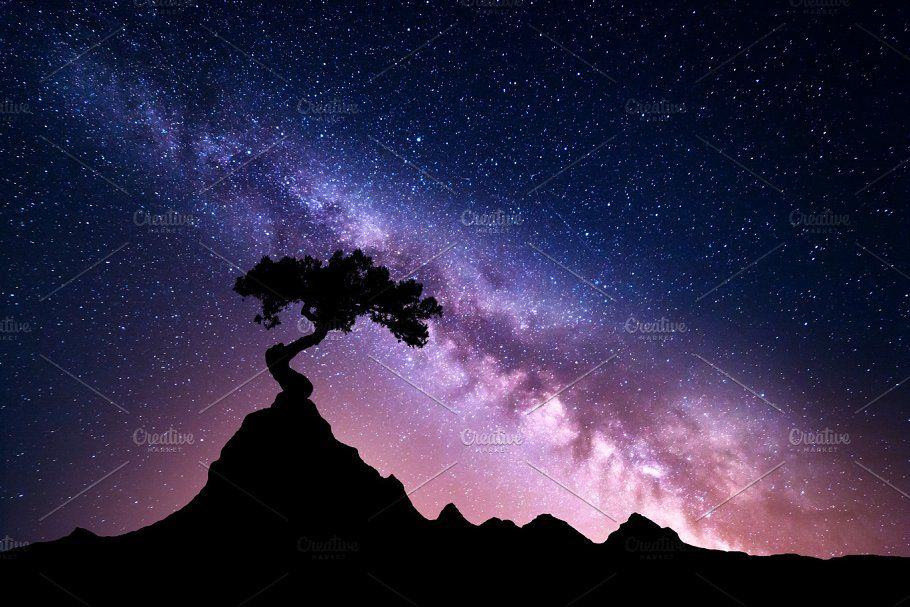 Milky Way And Tree On The Mountain Night Landscape Milky Way Nature Wall