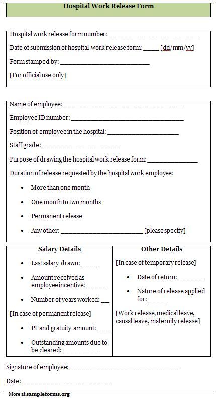 Hospital release form layout CVs, resumes, forms Pinterest - work release forms