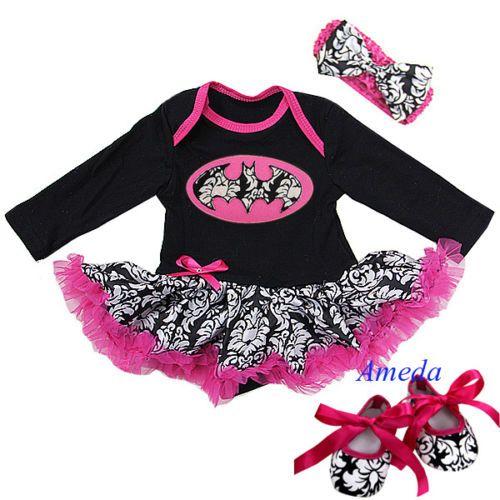 Baby Nightmare Before Xmas Jack Hot Pink Damask Bodysuit Tutu Halloween Dress