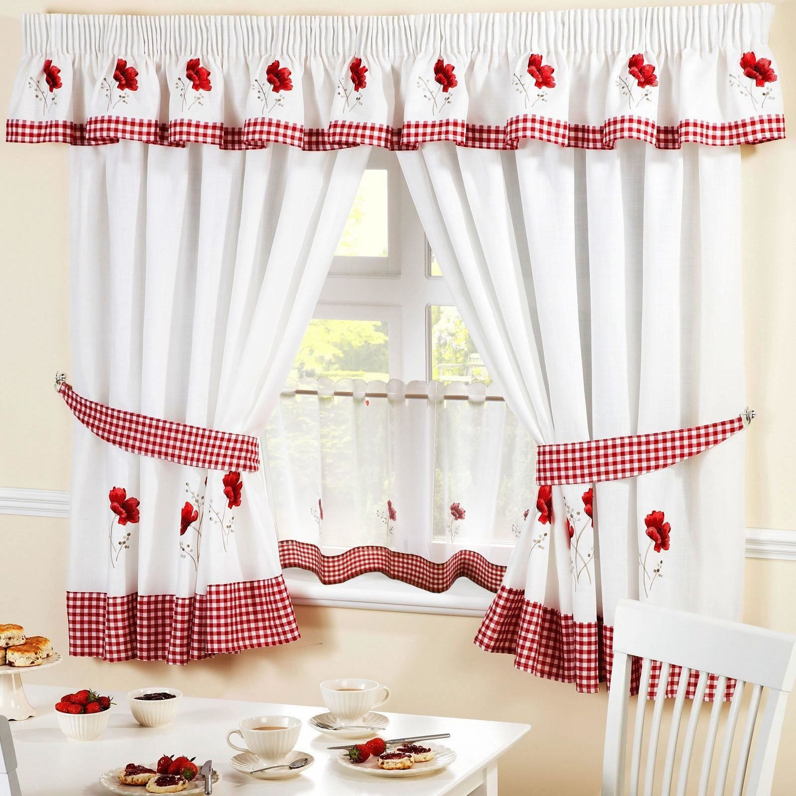 Poppies red embroidered kitchen curtains pelmet u ud cafe panel
