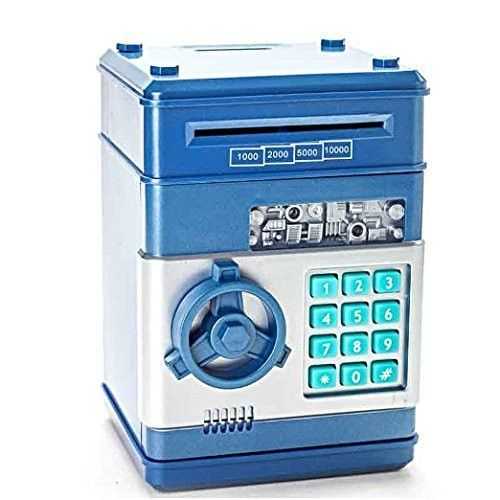 Bank Code Electronic Money Bank Piggy Money Banks Coin Saving Banks ATM Safty Banks Blue by Jackpot Wireless
