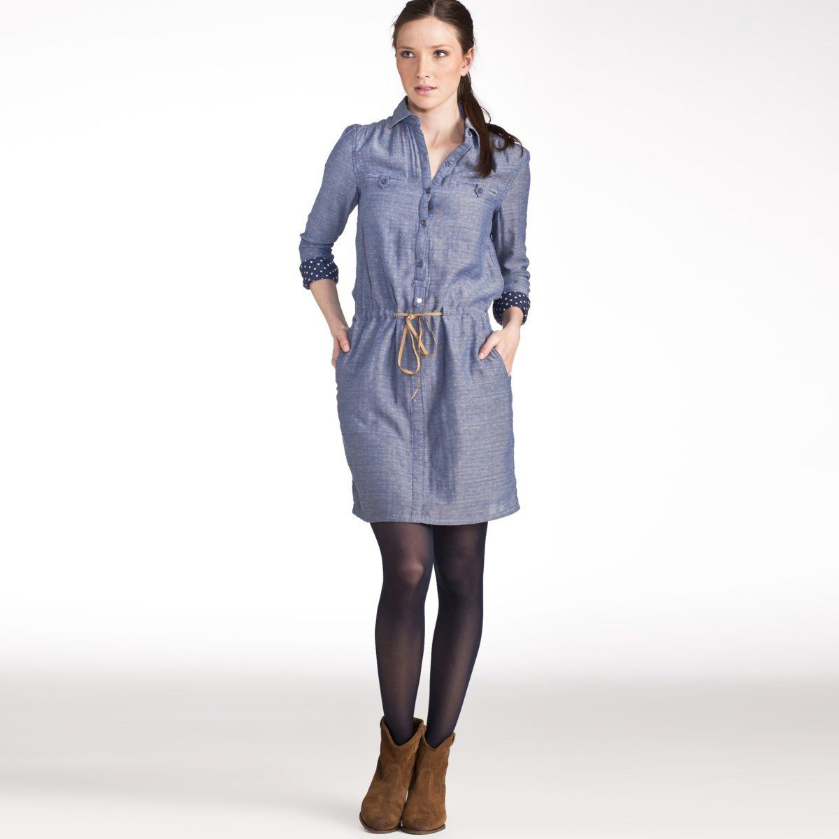 152854f4f5 Vestido camisero de chambray azul