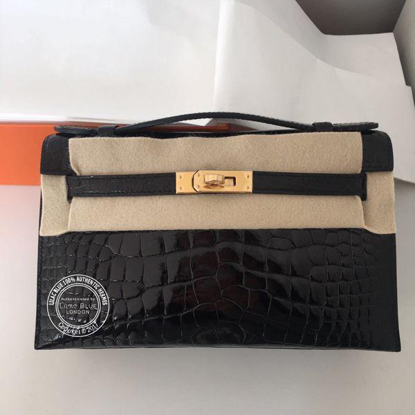 ad9e0fc99ed Black Kelly Mini Pochette in Shiny Crocodile with Gold Hardware