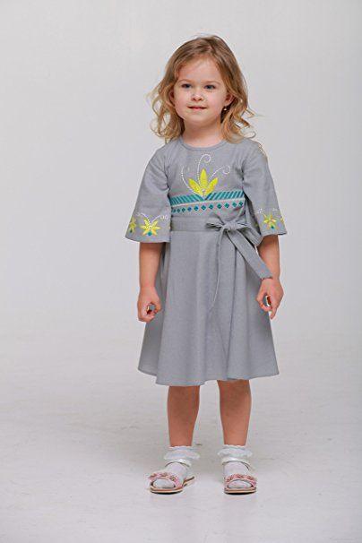 2kolyory Bestickt Boho langes Kleid grau Mädchen. Kinder ...