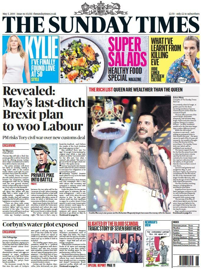 Sunday's national newspaper front pages Newspaper front