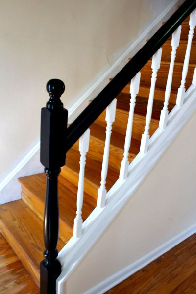 How To Update Railings And Spindles On Stairs Stair Railing Makeover Staircase Remodel Handrail Design