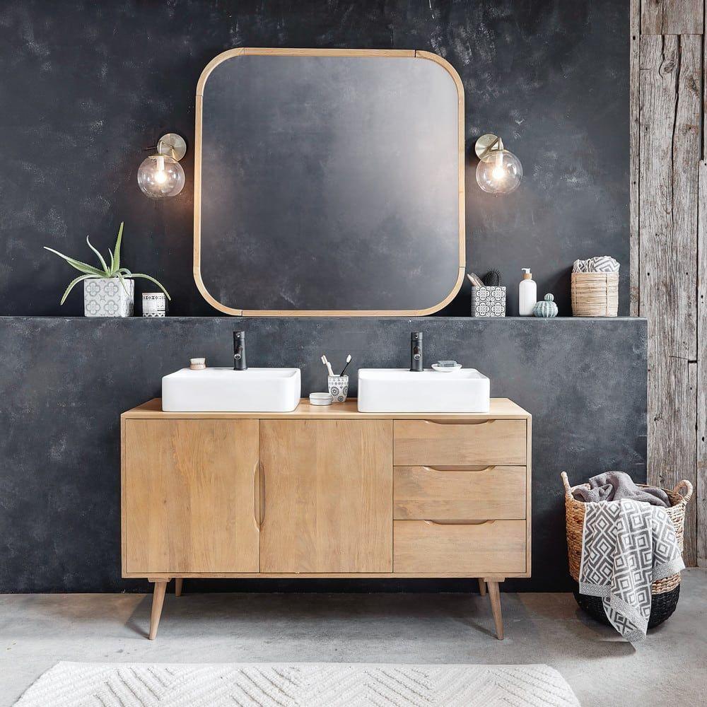 mangohouten badkamermeubel met 2 wastafels in 2019. Black Bedroom Furniture Sets. Home Design Ideas