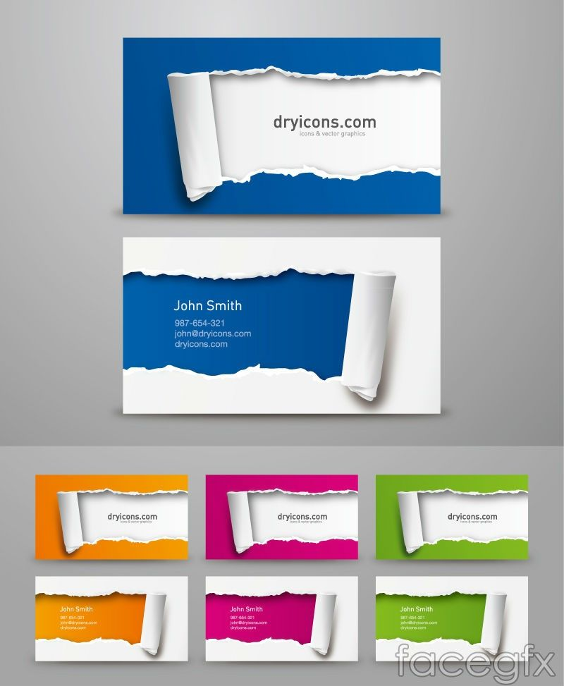 Torn paper effect business card design vector | Free Vectors ...