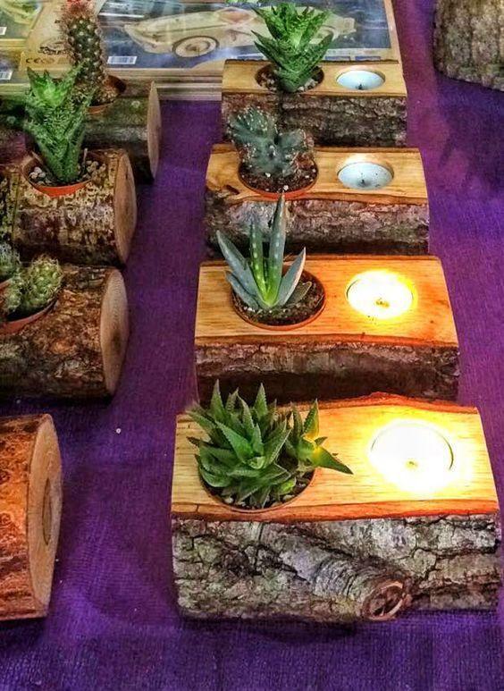 Succulent, candle holder, natural wood #woodc   Sukkulente Topfe Deko