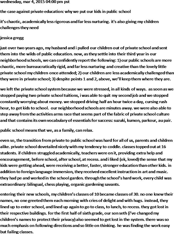 The Case Against Private Education Why >> The Case Against Private Education Why We Put Our Kids In Public
