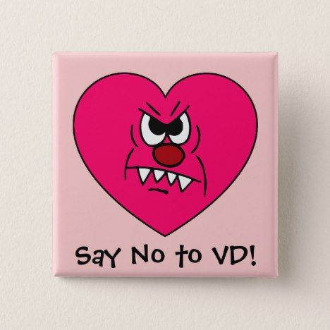 Anti Vd I Hate Valentines Day Angry Heart Face Pinback Button In