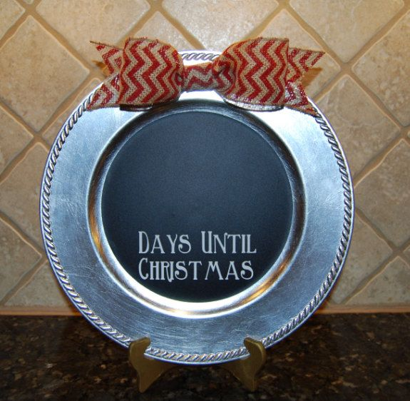 Christmas Charger Plate Countdown Days Until Christmas Burlap