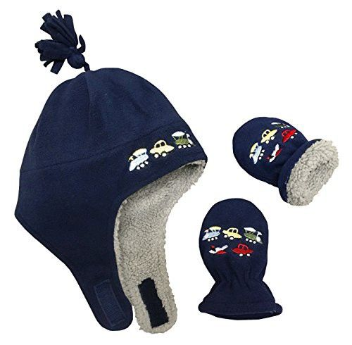 39d806c74c8 N Ice Caps Little Boys and Baby Sherpa Lined Fleece Embroidered Hat Mitten  Set (