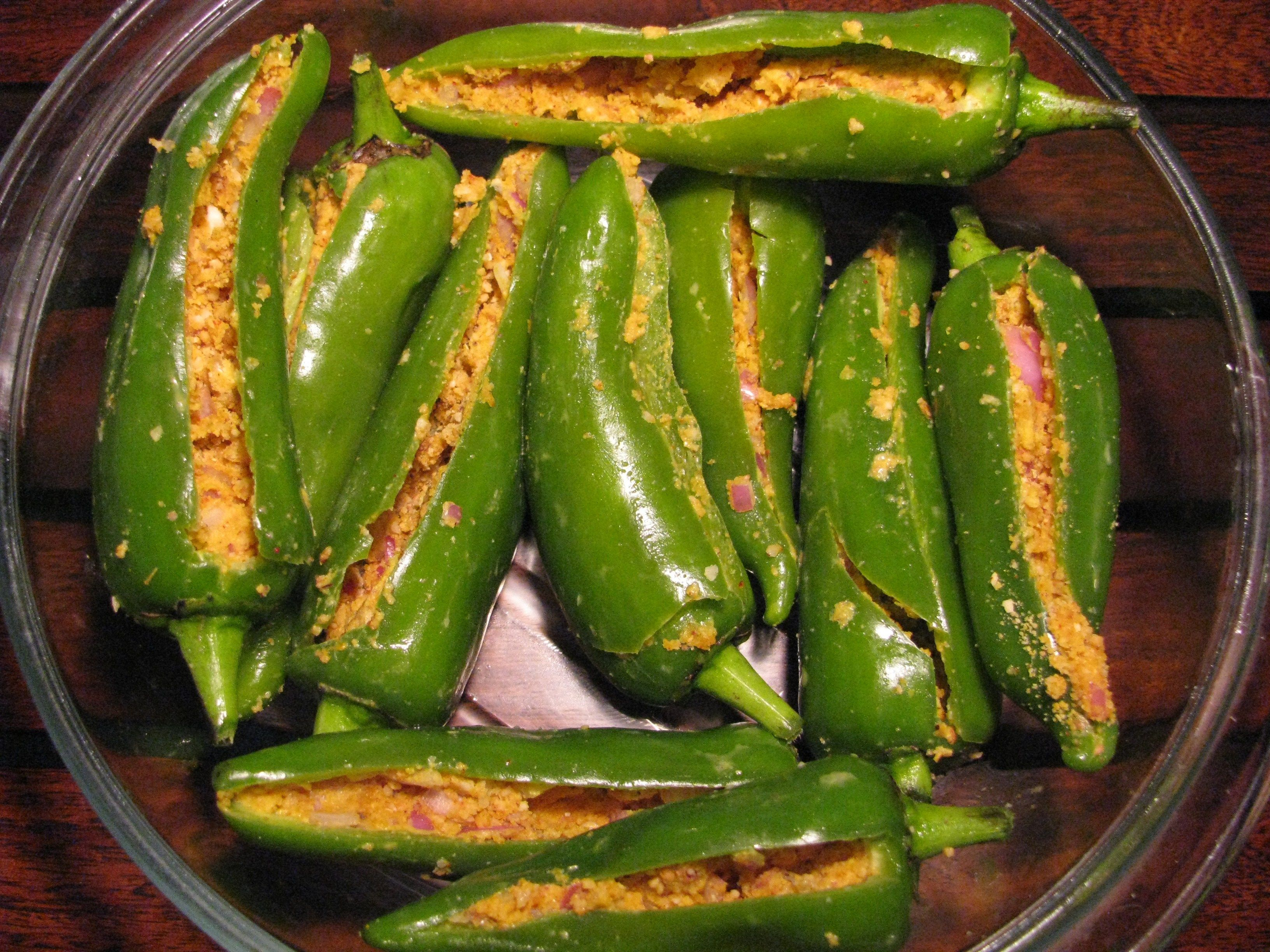 Stuffed Green Chilies Bhavnagri Mirch Stuffed Peppers Vegetarian Stuffed Peppers Healthy Veg Recipes