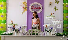Decoração de festa infantil como tema Tinkerbell, Sininho.
