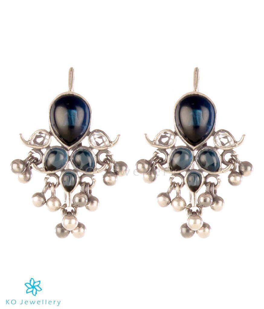a0cce76c7 The Puskara Silver Earrings(Blue)-Buy Temple Jewellery Earrings Online - KO  Jewellery