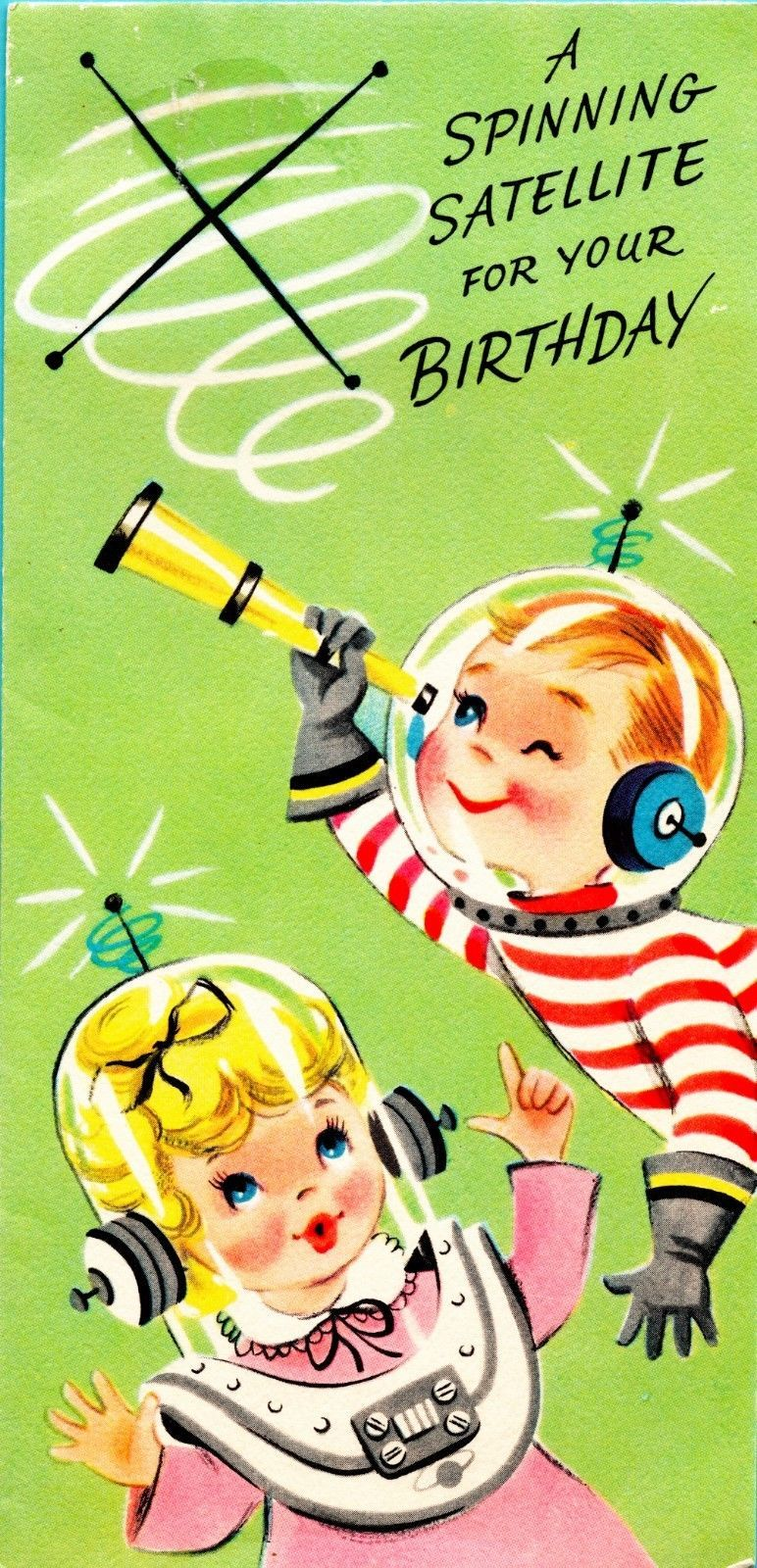 Vintage BIRTHDAY CARD 1960s Astronaut Kids SPACE AGE