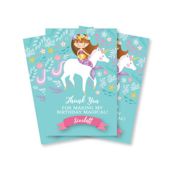 Green Unicorn Party Thank You Cards