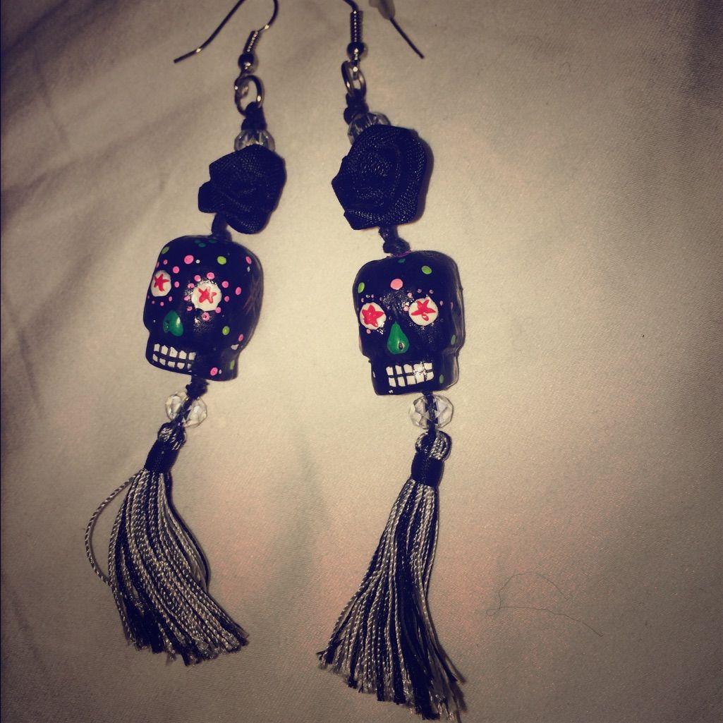 Handpainted Day Of The Dead Earrings