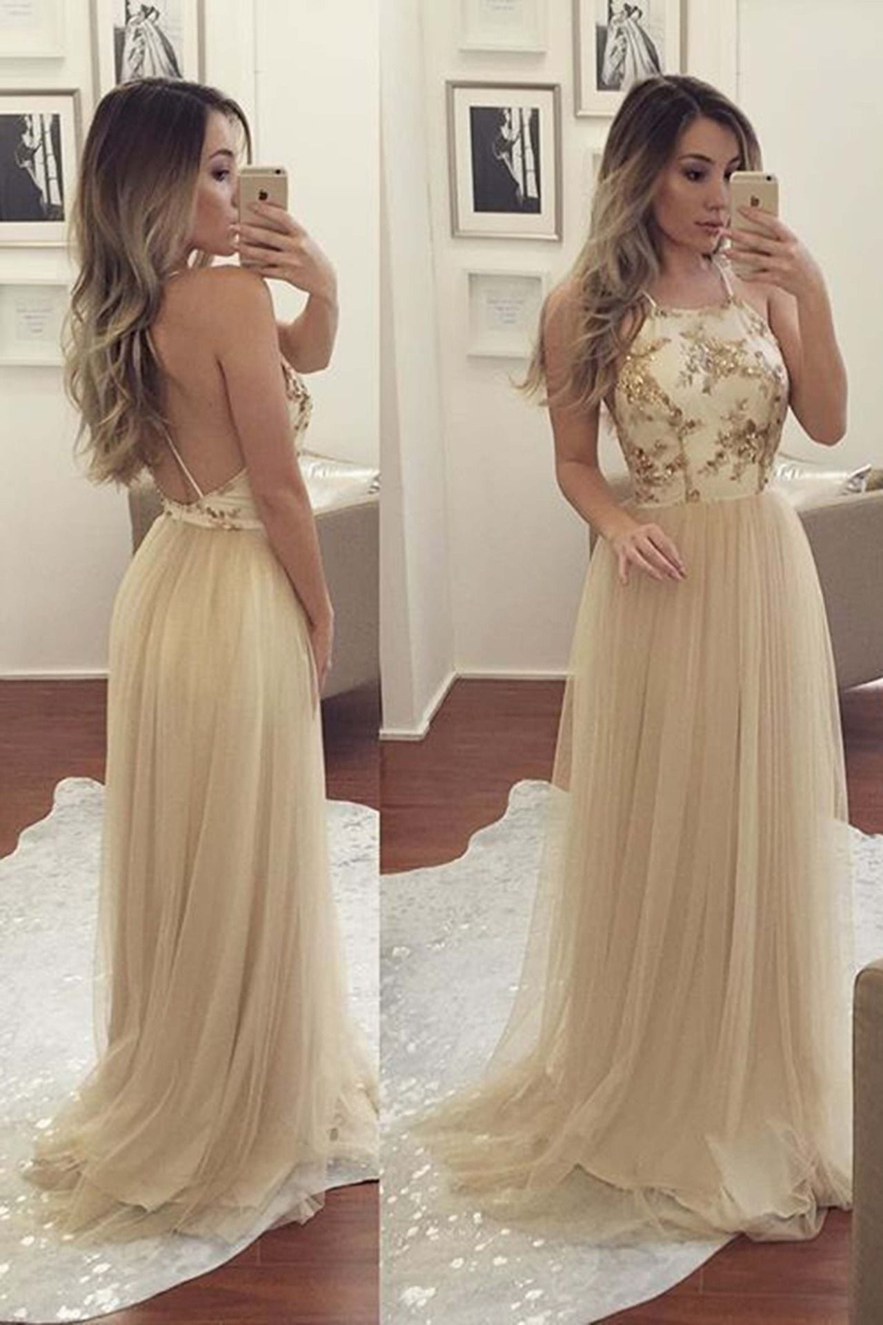 Beautiful creamy lace tulle prom dress ball gown backless formal