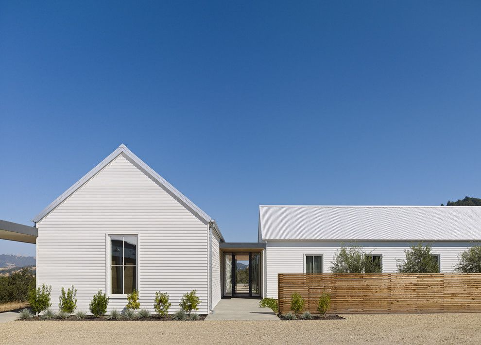 Healdsburg Residence modern entry san francisco Like the white with the metal roof