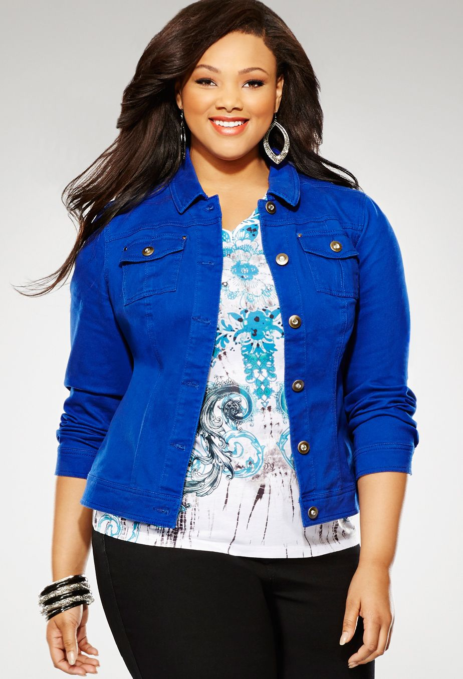 f19d2e269e5 Plus Size Colored Woven Denim Jacket