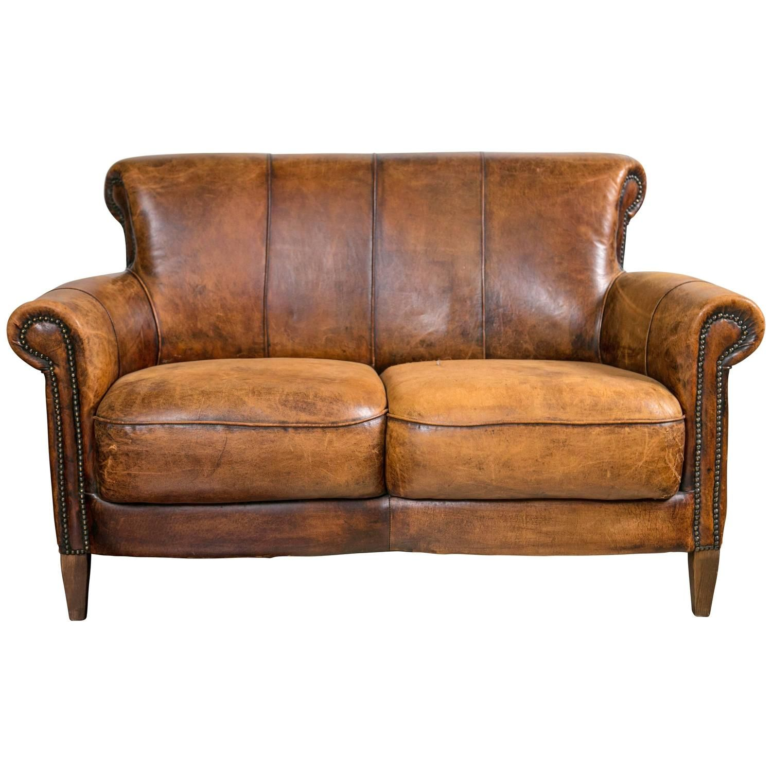 Vintage french distressed art deco leather sofa 1